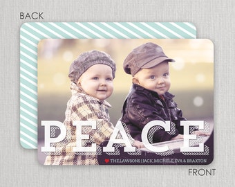 "Christmas Photo Card - ""Peace"" 2 sided printing!"
