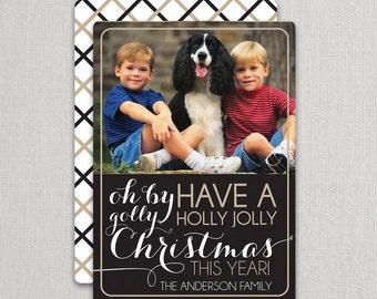 "Christmas Photo Card - ""Oh by golly"" 2 sided printing!"