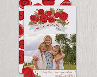 "Christmas Photo Card - ""Christmas Roses"" 2 sided printing!"