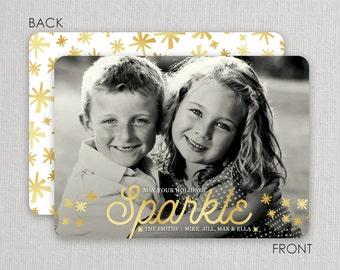 "Christmas Photo Card - ""Sparkle"" 2 sided printing!"