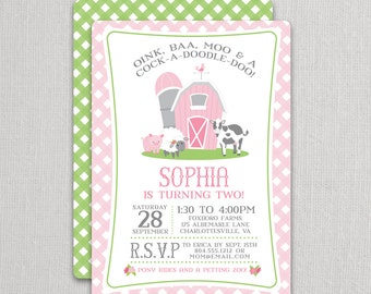 Pink Farm Birthday Invitation for a Girl | Farm Party Invite | Petting Zoo Invitation | Farm Theme Party | Girl Farm Party