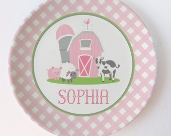 Farm Party Plate | Pink Gingham | Barn, Cow, Sheep, Pig | personalized with your child's name