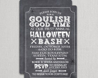 Chalkboard Halloween Invitations | Swanky Press - Halloween party