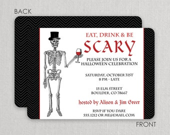Eat Drink and be scary Invitations   Swanky Press - Halloween party