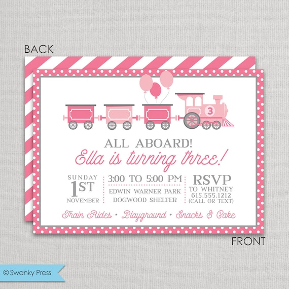 train birthday party invitation for girls, pink and grey, girl, Party invitations