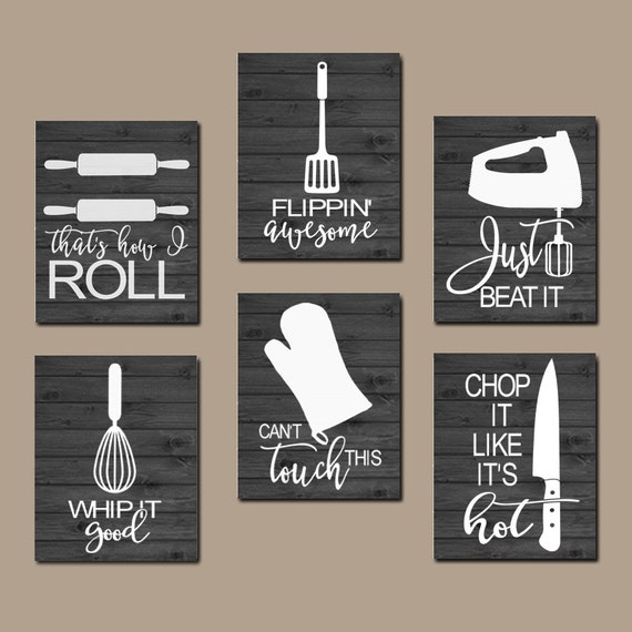 Kitchen Wall Decor Quotes: KITCHEN QUOTE Wall Art Funny Utensil Pictures CANVAS Or