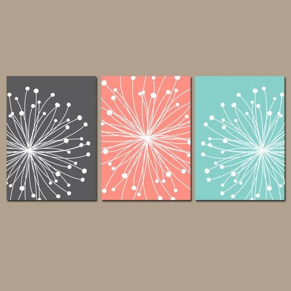 Dandelion Wall Art Canvas Or Prints Gray Coral Aqua Bedroom