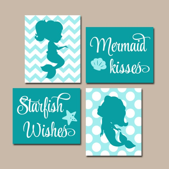 Mermaid wall art canvas or prints sister bathroom shared