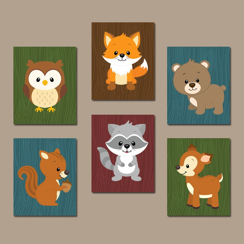 Woodland Wall Art Canvas Or Prints Boy Nursery Artwork Cute