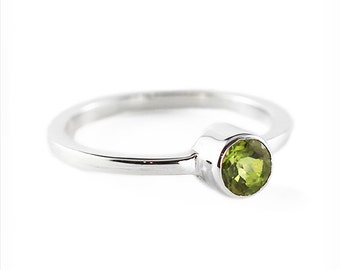 Peridot Engagement Ring 14k White Gold Personalized Gemstones