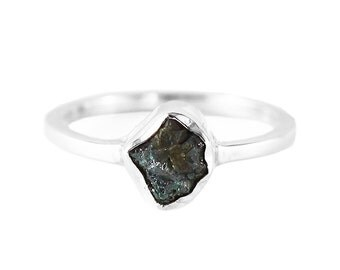 Green Diamond Ring Uncut Rough Diamonds Unique Dainty Engagement Rings