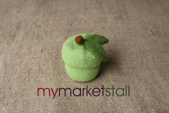 Green Apple Jar w/Removable Lid - Bowl - Felted - Ready to Ship
