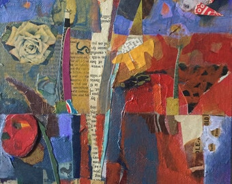 Mixed media collage painting 8 X 10 original