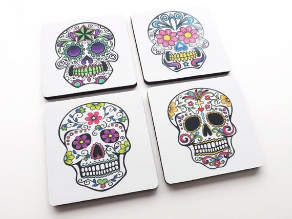Day of the Dead Coaster dia de los muertos calavera sugar skull skeleton Mexican halloween party favor stocking stuffer home decor til death