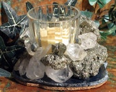 Candleholder with Crystal Quartz (April Birthstone), Pyrite (Fool's Gold) and Agate, Home Decor, Metaphysical