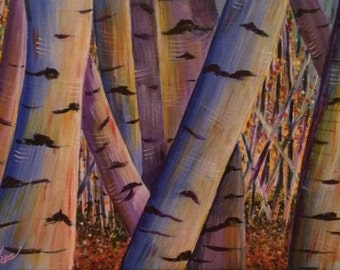 Original acrylic wrap around canvas aspen trees fall leaf leaves white yellow blue purple 12 in. x 9 in.