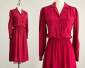 90s Vintage Nordstrom Cranberry Silk Puff Sleeve Day Dress / Size Small