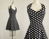 90s Vintage Rampage Black And White Polka Dot Print Halter Top Dress / Size Medium