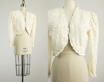 80s Vintage Edwardian Style Ivory Lace Satin Ruffle Trimmed Bolero Jacket / Size Small / Medium