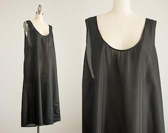 90s Vintage Black Sheer Extra Large Tunic Maxi Sun Dress / Size Extra Large