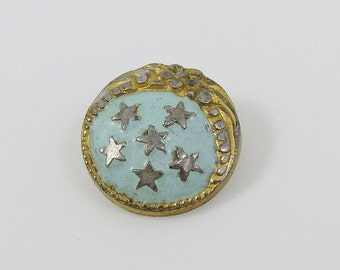 Antique Enamel & Brass Button Star Flower Pattern