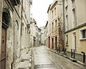 """Provence France photography neutral architecture art french decor cream white gray large wall art  """"La Rue Grise"""""""