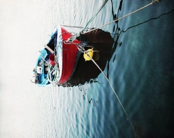 "Boat Photography - Nautical Wall Art - Red White Navy Blue - Greece Wall Art - Wooden Fishing Boat  ""Greece Boat 2"""