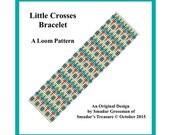 Bracelet Beading Pattern, Loom Stitch / Little Crosses / Geometric Intricate Design for Loom, Instant Digital Download PDF Jewelry Making