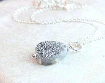 Druzy   Necklace     Grey  Gemstone Jewelry Gray  Drusy Pendant Briolette Pendant Gem Stone  Drop Teardrop Necklace Druzy Jewelry