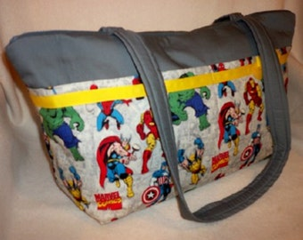 XXLG Gray Marvel Avengers super hero New for 2016 SALE 16% off  duffle diaper bag or just roomy travel bag great for twins too hulk thor