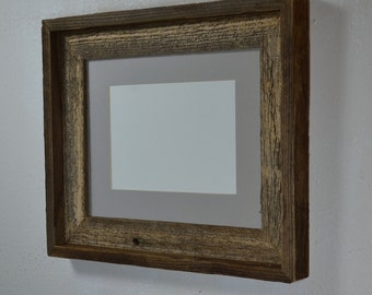 8x10 wood photo frame with 8x6 or 5x7 gray mat Handmade in the USA