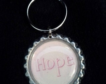 NEW PRICE! ONE 'Hope' Bottle Cap Charm Keychain