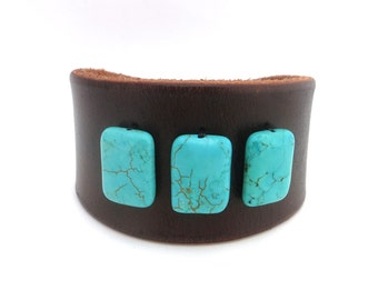 Women's Rawhide Leather Cuff Bracelet with Turquoise Colored Beads, Leather Jewelry, Leather Accessories