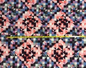 NEW BOLT by Girl Charlee floral triangles on cotton Lycra  knit fabric 1 yard