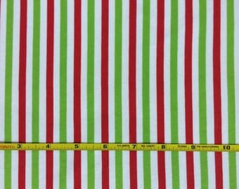 NEW Riley Blake Christmas red and green vertical stripe on cotton Lycra  knit fabric 1 yard