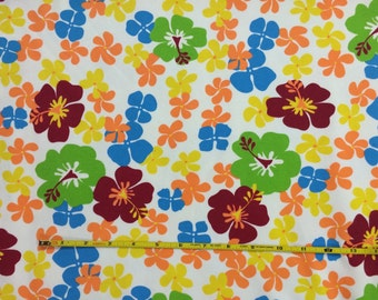 """Colorful floral on cotton lycra knit fabric 58"""" wide"""