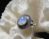 Beautiful Iridescent Moonstone  Ring Size 6.25