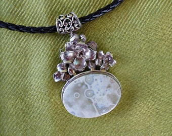 Sterling Silver Fossil Coral Pendant Necklace - Large