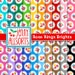 Rose Rings Shabby Chic Digital Paper - Roses in Big Dots on Bright Colors - for invites, card making, digital scrapbooking