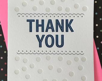 Letterpress Card - Thank You Scallops & Dots