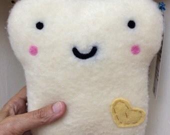 Mr. Toasty - Stuffed Plush Needle Felted Toast Friend Handmade by Val's Art Studio, Cute Food Bread Pillow, Felt Toast Pillow, Teen gift