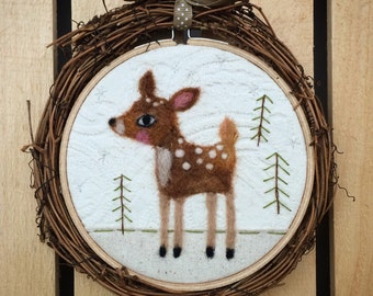 """Woodland Deer Needle Felted 5"""" Embroidery Hoop Art in Willow Wreath Frame with Ribbon by Val's Art Studio"""