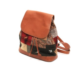 PATCHWORK tan leather 80s 90s mini BACKPACK hobo knapsack grunge