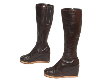size 6.5 BOHEMIAN brown leather 60s 70s PLATFORM wedge knee high CAMPUS zip up boots