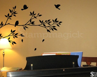 Tree Branch Wall Decal with Leaves - Vinyl Wall Art Decor Graphics removable for home - K021E