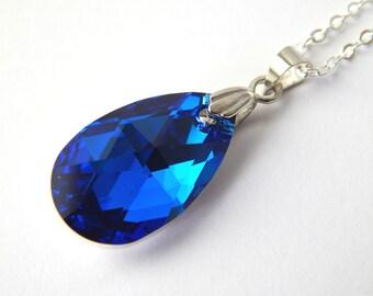 Blue Swarovski Teardrop Necklace - Capri Blue Comet Argent Light Crystal - Blue Crystal Necklace - Swarovski Elements - Crystal Teardrop