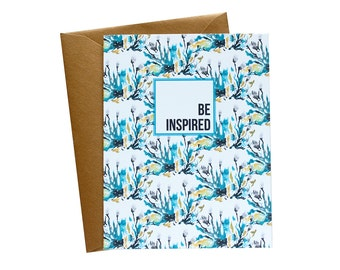 BE INSPIRED Blue Green Floral Wallpaper Greeting Card - Single Card