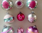 9 vintage glass Christmas ornaments, Shiny Brites and more, pretty in pink, stenciled flowers and indent