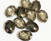 6 pcs of two tone oval crystal beads beads 12x15mm, electro plated crystal beads, Smoky