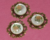 4 pcs glass flower cabochon with antique brass setting 20mm, glass brass connector, antique brass connector